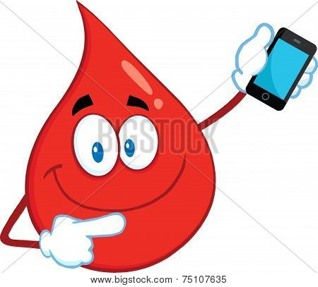 Red Blood Drop Cartoon Mascot Character Pointing To A Mobile Phone