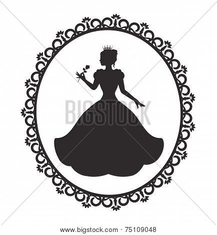 princess in a magnificent dress in a retro frame