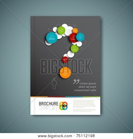 Modern Vector abstract brochure, report or flyer design template with question mark