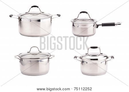 Set of stainless steel saucepans isolated on white background