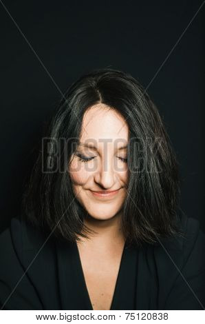Cute Dark Haired Woman Smiling