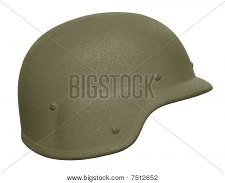 A US PASGT (Personnel Armor System for Ground Troops) Kevlar helmet. This was the standard combat helmet of the American military from the late 1980s until 2003 when it was replaced by the MICH TC-2000. It is still used by Iraqi forces and other US allies poster