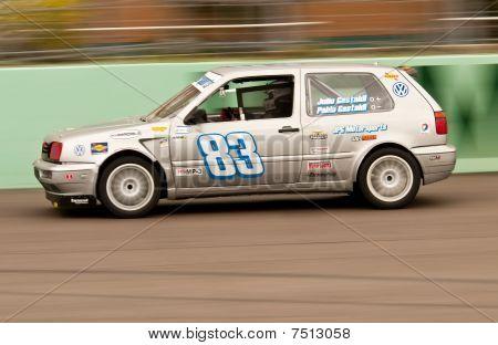 Motorsports Car Accelerates