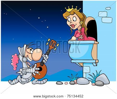 Knight In Armor Sings A Serenade Under The Balcony Of His Beloved Princess.eps