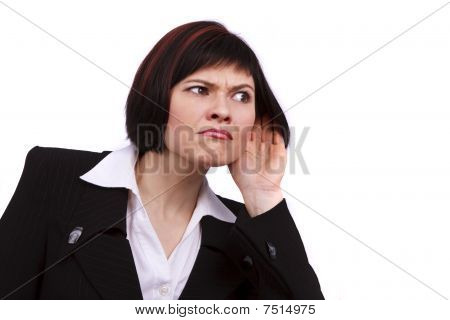 Business Woman Listening Gossip