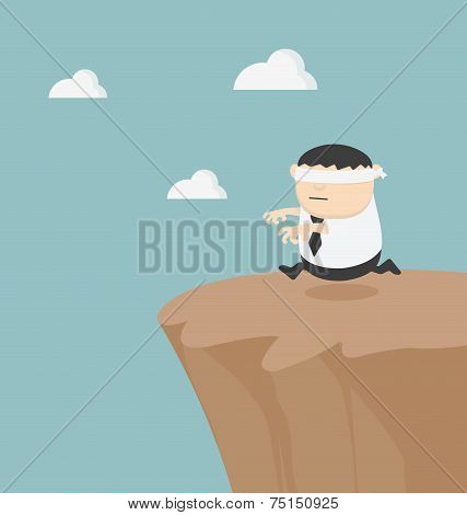 Concept Of Problem In Blindfolded Businessman Fat