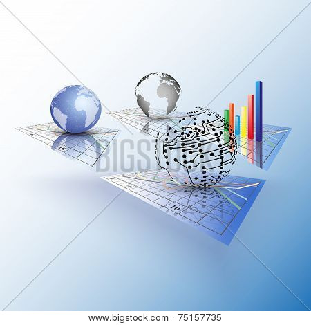 Set of Progressive charts. Abstract vector illustration. poster