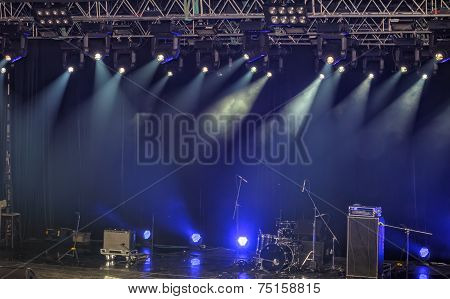 Spotlights And Illumination On Stage With Sound Equipment
