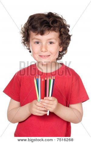 Adorable Little Boy With Many Crayons Of Colors