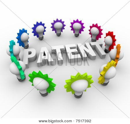 Patent Word Surrounded By Light Bulbs