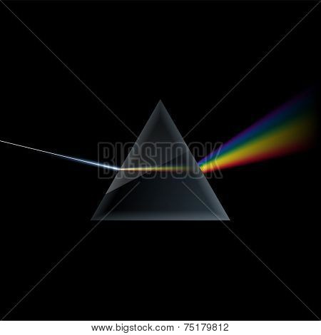 Prism and light rays, eps10 vector