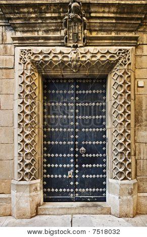 Old house door in Poble Espanyol, Barcelona, Spain poster