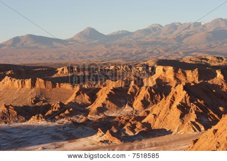 Atacama Desert And Volcano Range In Evening, Chile