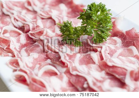 Sliced Lamb Meat On Plate For Shabu