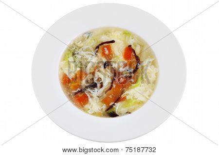 Chinese Tomato, Egg Whites And Mushrooms Soup,  Isolated On White.