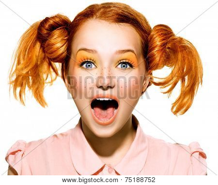 Screaming Funny Teen model Girl face closeup. Beauty funny teenage girl with open mouth looking at camera. Surprised woman. Red hair poster