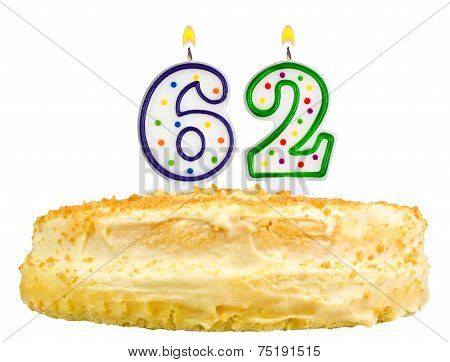 Birthday Cake Candles Number Sixty Two Isolated