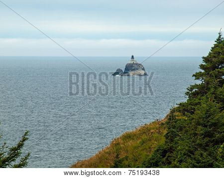 Tillamook Lighthouse Offshore At The Ecola State Park Oregon Usa