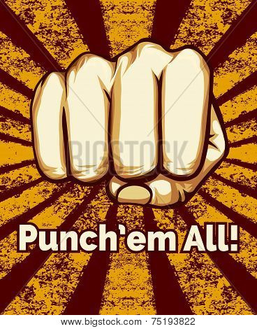 Retro Punching Fist Poster