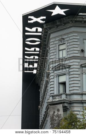 Facade and roof of the House of Terror in Budapest Hungary - vertical detail poster