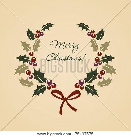 Christmas ilex wreath in vintage style