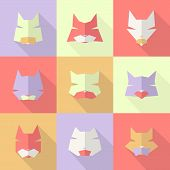 Stylized animal avatar character cats for social networks. Long shadow poster