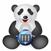 Panda padlock on a white background. Vector illustration. poster