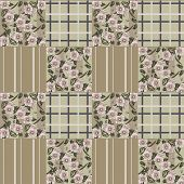 Patchwork retro brown colors checkered floral pattern background poster