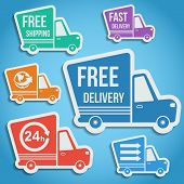 Free delivery, fast delivery, free shipping, around the world, around the clock colorful icons set with blend shadows. Vector. poster