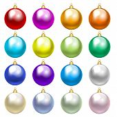 Set of colorful baubles isolated on white poster
