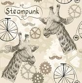 drawn illustration of an  giraffe in style steampunk poster