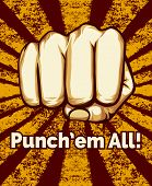 Grunge Retro Punching Fist Poster on Alternate Red Yellow Background. poster
