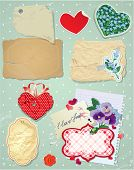 Set of vintage postcards vintage papers and labels in heart shape for Valentines Day design. poster