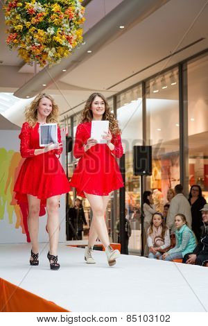 BADEN-BADEN, GERMANY - MARCH 7: Fashion model wearing clothes from the spring collection in a shopping center   on March 7, 2015 in Baden-Baden. Germany. Europe.