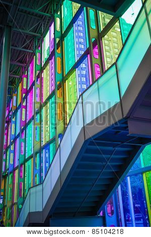 Indoor Glass Color At Palais Des Congrès De Montréal