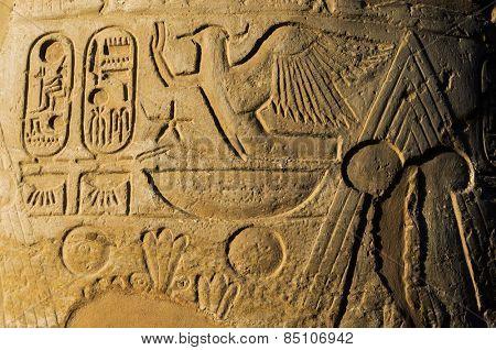 old egypt hieroglyphs carved on the stone.Luxor. Deir el-Bahari