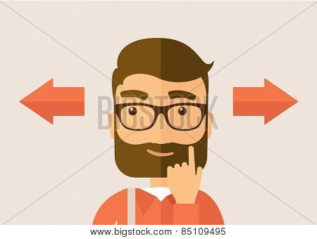 The man with a beard thinking of choice. Decision concept. Vector flat design illustration. Horyzontal layout.