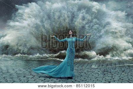Fashionable lady on the sea storm