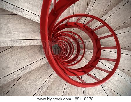 Spiral Stairs With Red Balustrade