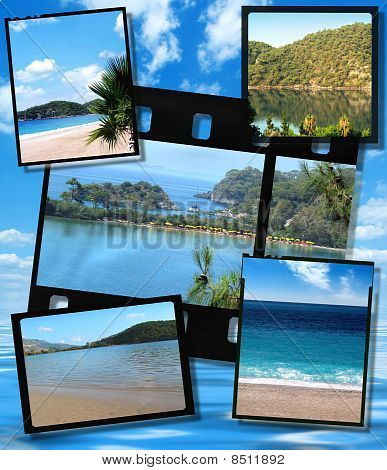 Film Strip And Film Plates With Beautiful Blue Lagoon Image