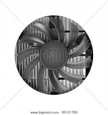 Fan with heatsink closeup, isolated on white