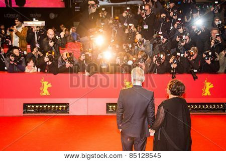 BERLIN, GERMANY - FEBRUARY 13: Kenneth Branagh with wife Lindsay Branagh. 'Cinderella' premiere. 65th Berlinale Film Festival. Berlinale Palace on February 13, 2015 in Berlin, Germany.