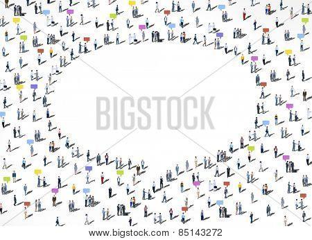 People Diversity Crowd Community Communication Speech Bubble Concept