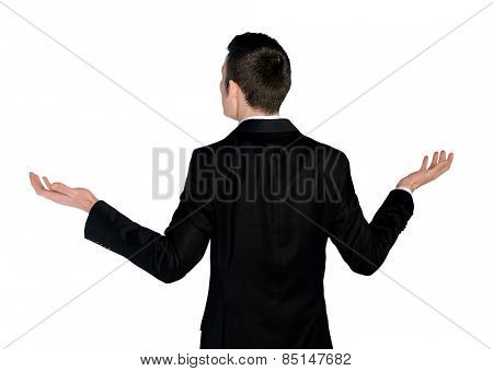 Isolated business man confused looking back