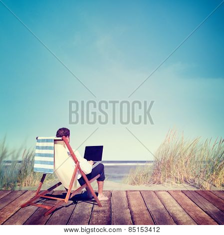 Businessman Working Summer Beach Relaxation Concept