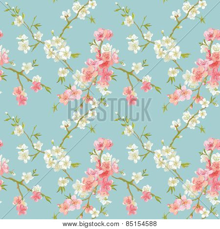 Spring Blossom Flowers Background - Seamless Floral Shabby Chic Pattern - in vector