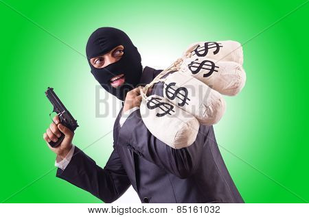 Gangster with bags of money on white poster