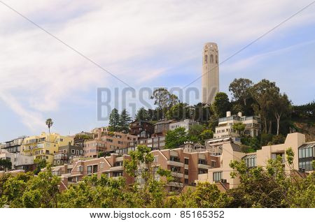 San Francisco cityscape  scenic in the area of Coit Tower poster