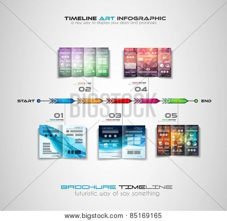 Timeline with Infographics design elements for brochures, data display, infocharts, business backgrounds, branstorming meetings, presentations and so on.