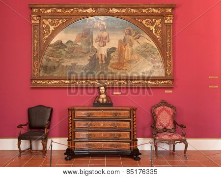 DUBROVNIK, CROATIA - MAY 27, 2014: Living room in the Rector's palace museum. The majority of the halls have styled furniture so as to recreate the original atmosphere of these rooms.